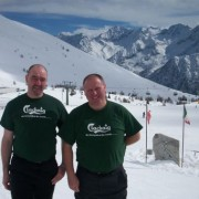 Neal and Wayne in their Clachaig t-shirts on the Presena Glacier, Passo Tonale, Italy. Doesn