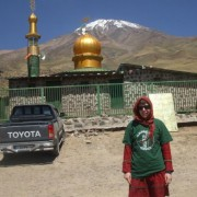 We think this qualifies as interesting. Pictured is Niamh Kirwan from Dublin, sheltering in her Clachaig t-shirt in 40+ degrees, by the mosque at Goosfand Sara, Iran.