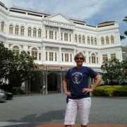 Vanessa Bourne, Clachaig t-shirt and the Raffles Hotel, Singapore