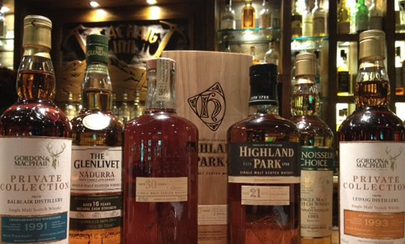 A selection of malt whisky. Some of the 300 on offer at Clachaig.